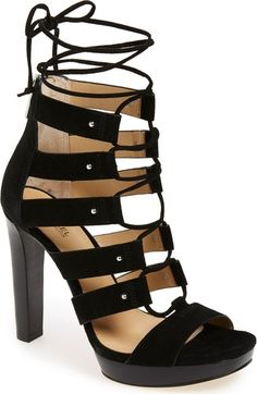 Free shipping and returns on MICHAEL Michael Kors 'Sofia' Platform Gladiator Sandal (Women) at Nordstrom.com. Dramatic ghillie laces add gladiator-inspired style to a commanding open-toe sandal featuring a laddered vamp highlighted with polished dome studs. The slim, stacked stiletto offers a leg-lengthening effect.