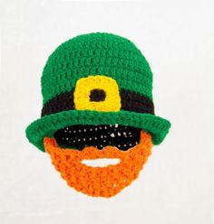 St. Patricks Day Beard Hat, Green Knit / Crochet Beanie any size baby - adult #Handmade #Beanie