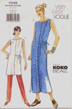 Very Easy Vogue Pattern 7249 Koko Beall dress with tie on one half of waist