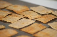 Homemade low carb 'wheat thins'.