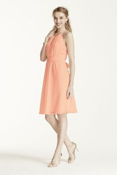 Fresh and flattering, this ultra-sweet dress is perfect for any bridal party!  Sleeveless bodice features high neckline with keyhole detailand beaded straps.  Tie elastic waist helps define and creates a flattering silhouette.  Fully lined. Back zip. Imported. Dry clean only.  Also available in extra length as Style 2XLF15421.