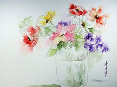 Original Watercolor Painting of Flowers by RoseAnn Hayes, available in Etsy shop