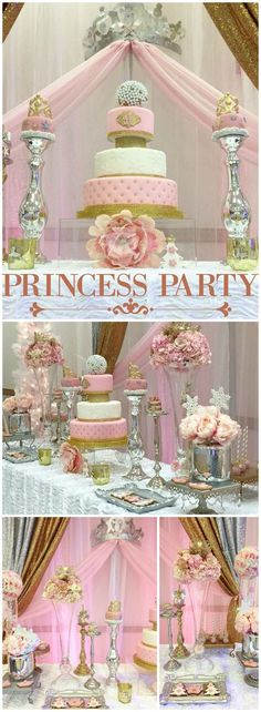 Check out this beautiful princess first birthday in pink and gold! See more party ideas at CatchMyParty.com!