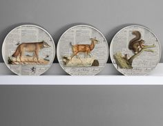 Set of 3 animals of the forest wall decor  3D by DigitalArtParis, $64.00
