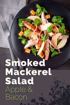 Apple and Mackerel are a wonderful combination and bacon makes everything better so this smoked mackerel salad with apple and bacon has you covered! Best Salad Recipes, Fish Recipes, Lunch Recipes, Seafood Recipes, Healthy Recipes, Healthy Meals, Delicious Recipes, Yummy Food, Easy Salads