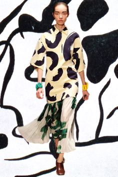 """Paris SS14 CÉLINE Expressionist Attitudes for the Modern Woman's Wild Side. Jean Arp Automatic DADA Drawings, Kandindsky's Improv Paintings, School Uniform Plaids, Joan Miro, Picasso's """"Still Life With Fishnet,"""" Leather Motorcycle Jacket."""