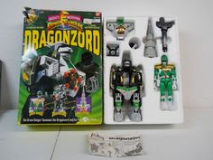 1993 BANDAI MIGHTY MORPHIN POWER RANGERS DRAGONZORD GREEN RANGER COMPLETE IN BOX #Bandai
