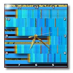 Layers of blue on stained glass gold making a cool design Wall Clock