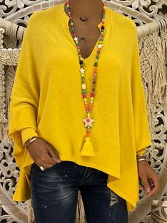 Solid Casual Polyester V-Neckline Long Sleeve Orange Yellow Black Shift Blouses General XL XXL Blouses Vetement Hippie Chic, Mode Top, Plus Size Casual, Batwing Sleeve, Plus Size Blouses, Shirt Blouses, Blouses For Women, Long Sleeve Shirts, Streetwear