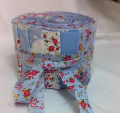 NEW English Rose Blue Floral Jelly Roll Strips 100% Cotton Quilting Vintage Cottage Shabby Chic