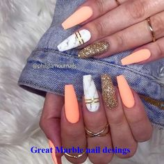 23 Stunning Ways To Wear Marble Nails Marble Nail Art Is . - 23 Stunning Ways to Wear Marble Nails Marble nail art has become very popular. Marble Acrylic Nails, Best Acrylic Nails, Summer Acrylic Nails, Matte Nails, Coffin Nails Designs Summer, Glitter Nails, Coffin Nail Designs, Coral Acrylic Nails, Nail Summer