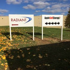 Outdoor Signs for your Business. Made & installed by Signarama Dixie for Radiant Global Logistics (Canada) Inc. Storefront Signage, Custom Business Signs, Construction Signs, Building Signs, Channel Letters, Sign Maker, Office Signs, Sign Company, Outdoor Signs