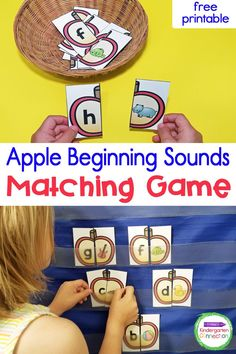 Fall is just around the corner, and that means apple activities and lessons in Kindergarten! This fun apple beginning sound matching game is perfect as a whole group activity, reading center, or as a quick informal classroom assessment. Practice literacy in a fun way with these free printables! Apple Activities Kindergarten, Free Kindergarten Worksheets, Free Teaching Resources, Alphabet Activities, Kindergarten Classroom, Kindergarten Activities, Learning Activities, Literacy Skills, Literacy Centers