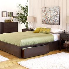 Platform Bed with Drawers Dark Wood Bedroom, Wood Bedroom Sets, Home Bedroom, Bedroom Furniture, Bedrooms, Dark Furniture, Bedroom Ideas, Master Bedroom, Platform Bed With Storage