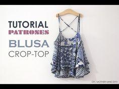 DIY Tutorial Blusa Crop-Top mini (patrones gratis) DIY clothing, how to make this crop top blouse yo Blusas Crop Top, Crop Tops, Sewing Clothes, Diy Clothes, Tops Diy, Diy Fashion, Ideias Fashion, Diy Crop Top, Make Your Own Clothes