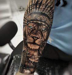 by Artista IG: . the_art_of_tattooing Lion Tattoo Sleeves, Wolf Tattoo Sleeve, Leg Tattoo Men, Best Sleeve Tattoos, Tattoo Sleeve Designs, Tattoos Torso, Lion Forearm Tattoos, Lion Head Tattoos, Native Indian Tattoos