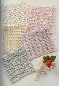 262 Puntos a Crochet Crochet Books, Crochet Home, Thread Crochet, Crochet Crafts, Crochet Projects, Free Crochet, Crochet Motif Patterns, Crochet Diagram, Crochet Squares