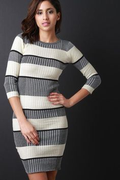 Ribbed Knit Striped Long Sleeve Sweater Dress