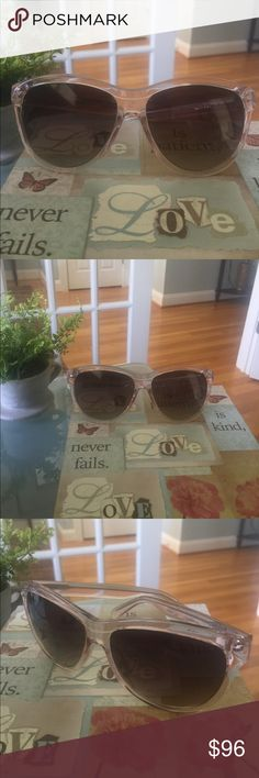 Kate Spade Slight Cat-eye Sunnies EUC Kate Spade Slight Cat-eye Sunnies blush-clear in color. No scratches, there r two indentions on inside of case. EUC kate spade Accessories Sunglasses