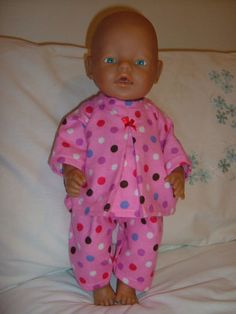"Dolls clothes 4 Baby Born 17"" doll clothes - Pyjamas - pink / spots"