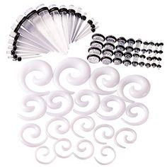Qmcandy 54pcs 14G-00G Acrylic Clear Tapers + White Spiral... https://www.amazon.com/dp/B06XBGLQ55/ref=cm_sw_r_pi_dp_x_8wHUybVY2Q583