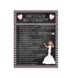 ****Printable Bridal/Wedding Shower Game****DIGITAL DOWNLOAD*****  Great for Couples shower. See matching game here: https://www.etsy.com/listing/503052097/bridal-shower-game-what-did-she-say  This game will create lots of laughs! The Groom is asked questions about the Bride-to-be ahead of time. (Video taping him answering the questions is always more fun!) The game sheets are passed out to the guests at the shower and everyone has to guess how many questions the Bride–to-be will answer…