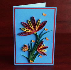 Quilled Birthday Card - Mother's Day Card - Quilling Card - Congratulation Card - Greeting Card - Thank You Card