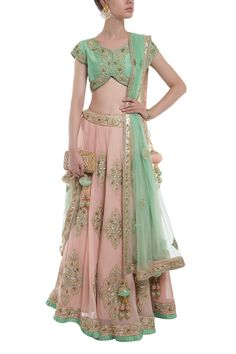 Mint green and Peach Zardosi work Lehenga