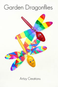 Spring Garden Dragonflies - Fun Spoon Kids Craft !