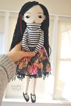 "Anastasia. 16"" jointed cloth doll, made for creative play. @createjoymakestuff"