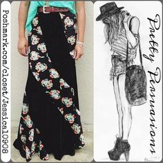 """Free People Twisted Velvet Black Floral Maxi Skirt Free People Twisted Velvet Floral Maxi Skirt  MSRP $149.00  Size: 6 (fits an average size small)  Measurements taken in inches: Waist: 29"""" (not elasticized but can stretch to approximately 31"""") Hips: 36.5""""  Features:  • black velvet & floral print insets  • hidden side zip & button closure  Fair offers welcome  Bundle discounts available  No trades or pp Free People Skirts Maxi"""