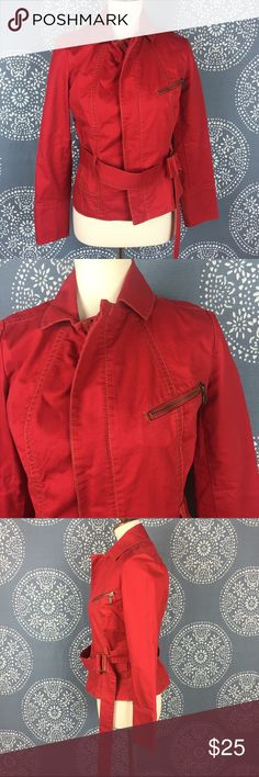 """CAbi First Mate Belted Red Jacket -Style 401 Cute CAbi red jacket with a full zip closure. The cuffs have a 3 button closure, and the hardware is in brass. It has nice seam stitching details and looks good on!  Great condition. 18"""" armpit to armpit and 23"""" long. CAbi Jackets & Coats Utility Jackets"""