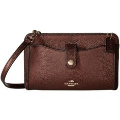 COACH Polished Pebble Pop Up Messenger (LI/Bronze) Messenger Bags ($175) ❤ liked on Polyvore featuring bags, messenger bags, military pouch, coach crossbody, military messenger bag, coach shoulder bag and crossbody cell phone pouch