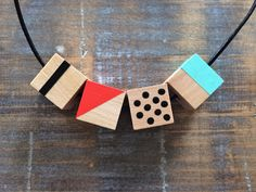 """Funky. Hip. Definitely not """"square"""" :). Hand painted geometric wooden bead necklace by ModFresh on Etsy, $27.00  www.ModFresh.etsy.com"""