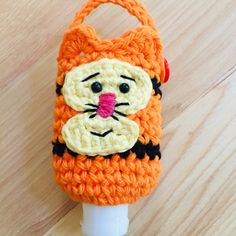 Brand new in my shop these Tigger hand sanitizer holders are perfect for gift giving or gift yourself! Cute Crochet, Crochet Crafts, Diy Crafts, Crochet Mask, Crochet Poncho, Christmas Kitchen Towels, Hand Sanitizer Holder, Belt Purse, Craft Free