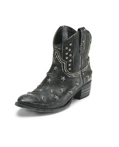 15dcc0340df3 Studded star boots - Wrap - Subtle rock-chic ankle boots in distressed black  leather with heavy scuff mark details. Studded with silver stars on the  foot ...