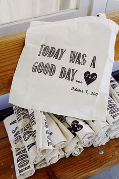"""Today was a good day"" totes. +1 for an Ice Cube reference in your guest gift."