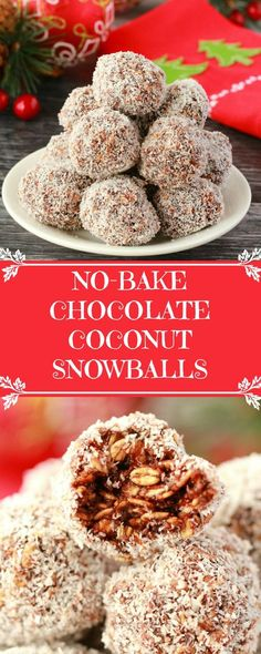 Festive chocolate coconut snowballs - super easy and deliciously chocolatey, these chewy no-bake snowballs are packed with rolled oats and coconut, and they're vegan and gluten-free! #vegan #lovingitvegan #coconutsnowballs #snowballs #glutenfree #dairyfree | lovingitvegan.com