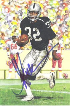 MARCUS-ALLEN-AUTOGRAPHED-SIGNED-OAKLAND-RAIDERS-GOAL-LINE-ART-IN-BLUE