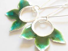 Green Earrings Flower Earrings Resin and Sterling Silver Earrings-Oliv Green Earrings 3 Petal Long Earrings on Etsy, $59.00