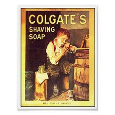 Shop Vintage Colgate Shaving Soap Boy Shaving Poster created by vintagegiftmall. Straight Razor Shaving, Shaving Razor, Shaving Soap, Don Draper, Shaving & Grooming, Men's Grooming, Vintage Advertisements, Vintage Ads, Retro Advertising