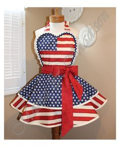 American Flag Woman's Retro Apron With Tiered Skirt And