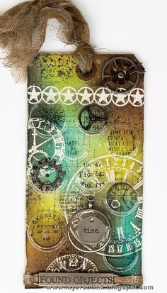 Layers of ink - Recycled Time Tag Tutorial by Anna-Karin. Made for the Simon Says Stamp Monday Challenge blog, using Stamper's Anonymous stamps by Tim Holtz, Tim Holtz idea-ology pieces and packaging and Ranger ink.