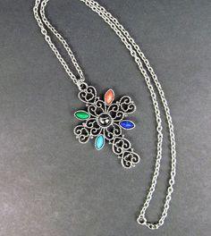 "Vtg Avon Cabochon Filagree Cross Pendant Necklace 24"" Silver Tone Signed Boho #Avon #Pendant"