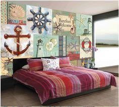 Any Size Custom Shell Starfish Light House Sea Wallpaper Mural Rolls for Kids Playgroup Kindergarten Bedroom Dinning Living Room #Affiliate