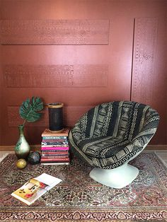 A Shimmery Metallic Copper Wall with Modern Masters Copper Paint, Copper Wall, Love Chair, Diy Chair, Funky Home Decor, African Mud Cloth, Modern Masters, Metallic Pink, Floor Decor