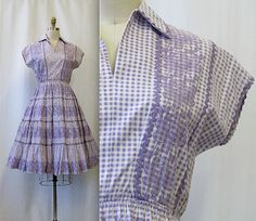 1950's Ranch Made Gingham Western Wear Dress