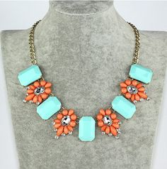 Jcrew Gemstone Necklace, Lake Blue Square and Orange Flower Bib Jewelry, Fashion Necklace Gift, Gift Box Wrap Available, The Last One on Etsy, Sold