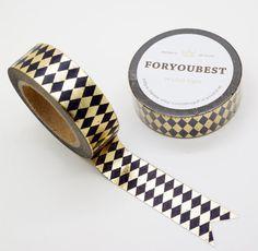 Gold Foil Diamond Japanese Washi Tape/Deco Masking Tape/Planner Sticker/ Scrapbook Tape/Rainbow washi tape Pattern TZ379