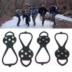 New 1 Pair Ice Snow Ghat Non-Slip Spikes Shoes Boots Grippers Crampon Walk Cleats Free Shipping